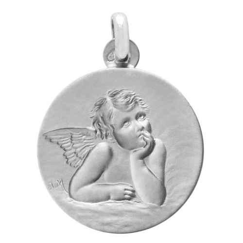 Photo de Médaille Ange ronde - Or blanc 18ct