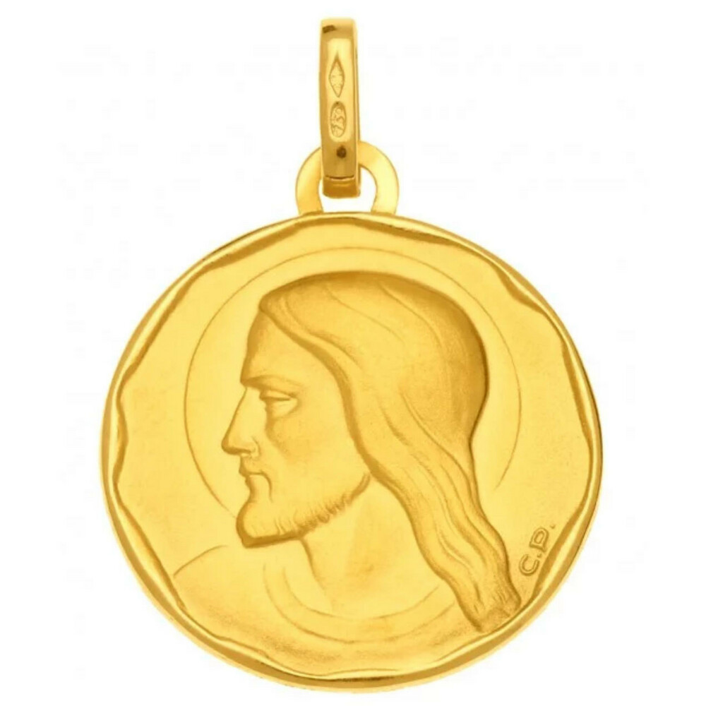 Photo de Médaille Christ ronde - Or jaune 18ct