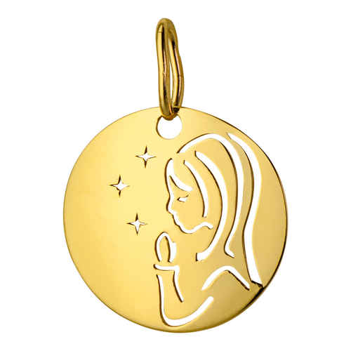 Photo de Médaille Vierge aux étoiles ajourée - Or jaune 9ct