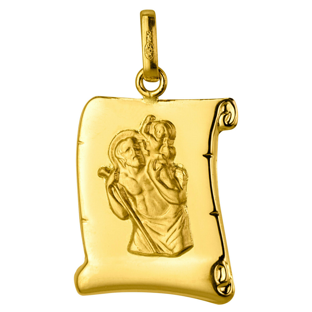 Photo de Médaille Saint- Christophe parchemin - Or jaune 18ct