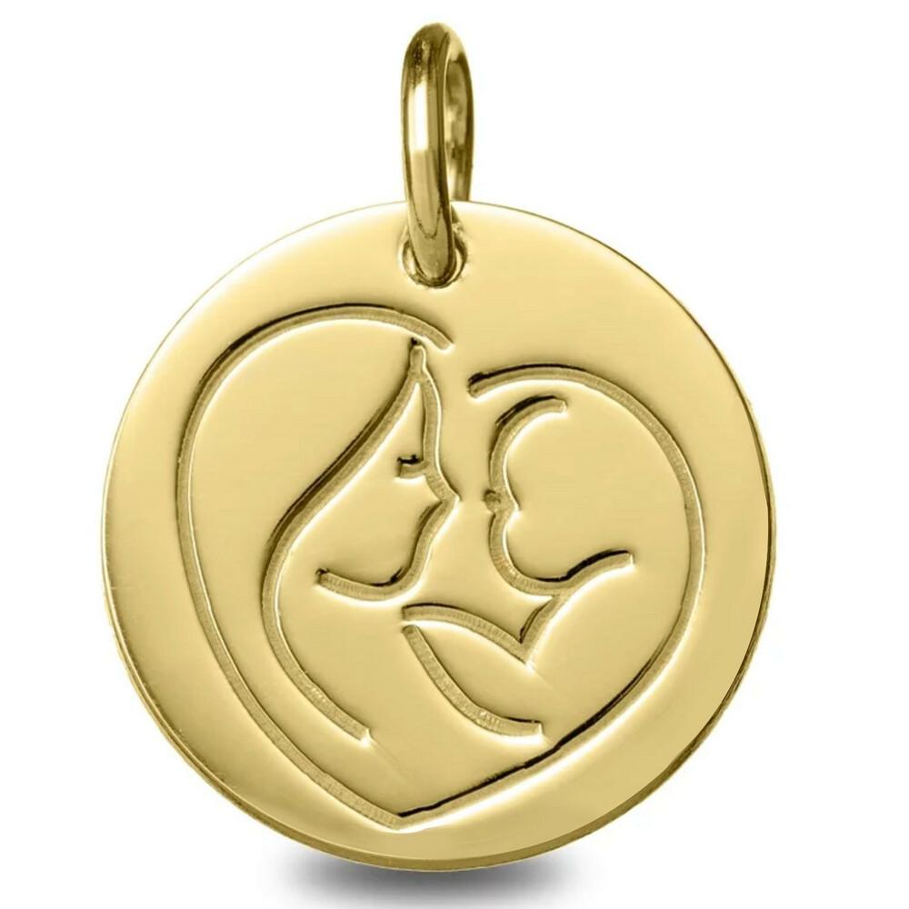 Photo de Médaille Vierge à l'enfant en coeur - Or jaune 9ct