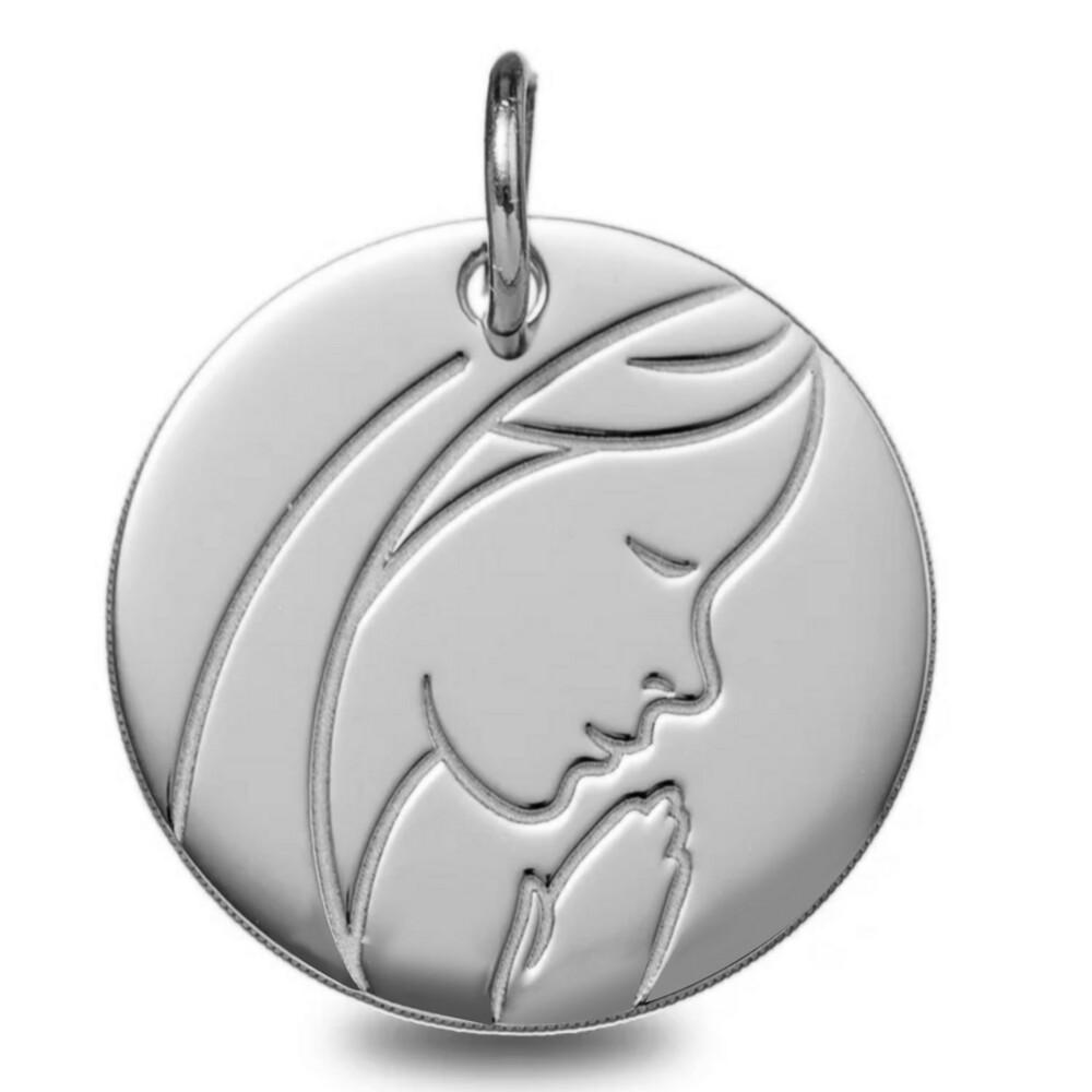 Photo de Médaille Vierge pieuse - Or blanc 9ct