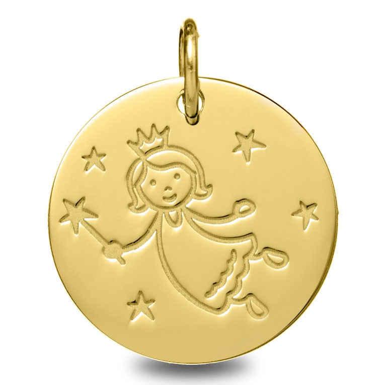 Photo de Médaille Fée aux étoiles - Or jaune 9ct
