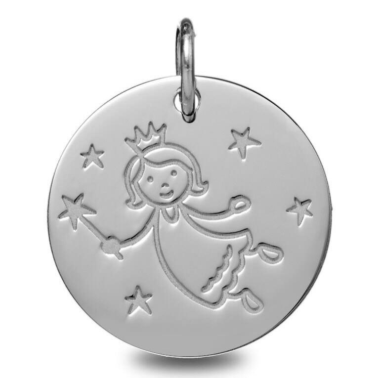 Photo de Médaille fée aux étoiles - Or blanc 9ct