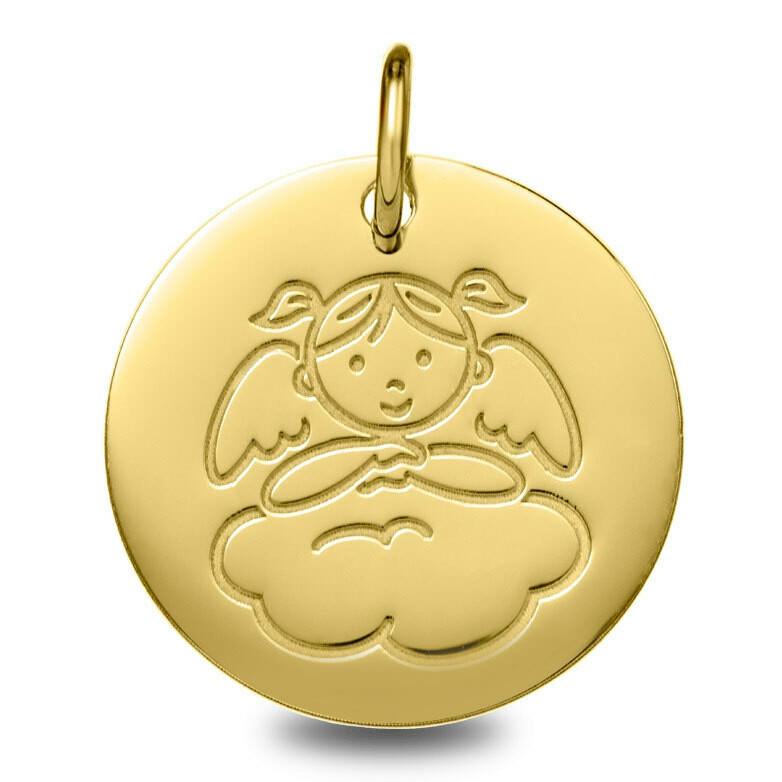Photo de Médaille Ange fille nuage - Or jaune 9ct