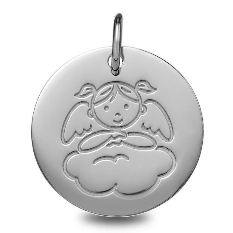 Photo de Médaille Ange fille nuage - Or blanc 9ct