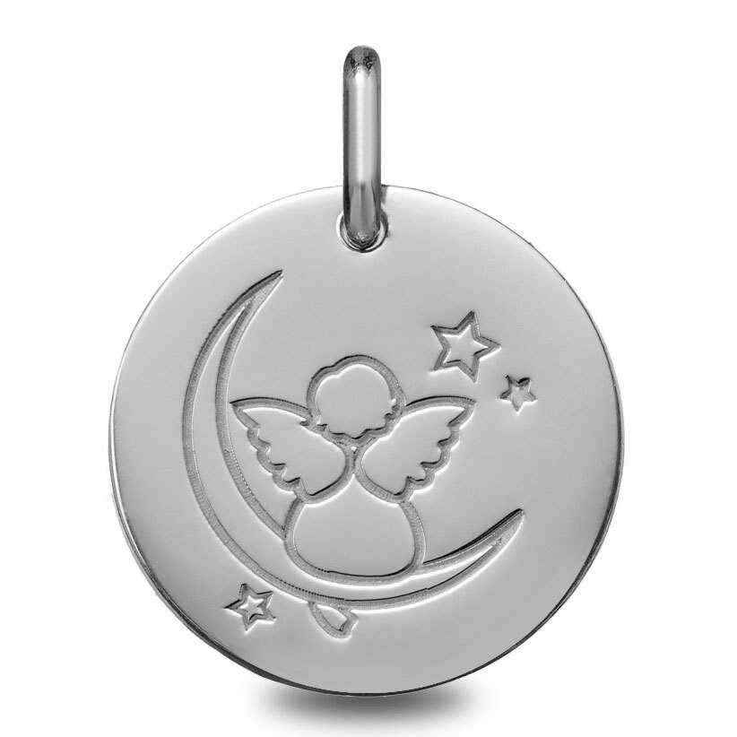 Photo de Médaille Ange sur la lune - Or blanc 9ct