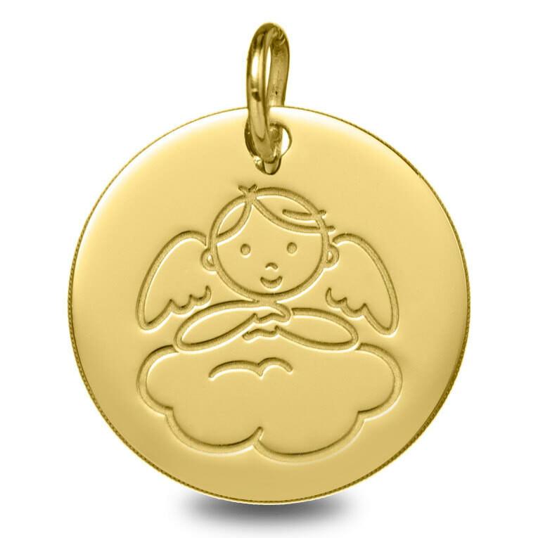 Photo de Médaille Ange garçon nuage - Or jaune 9ct