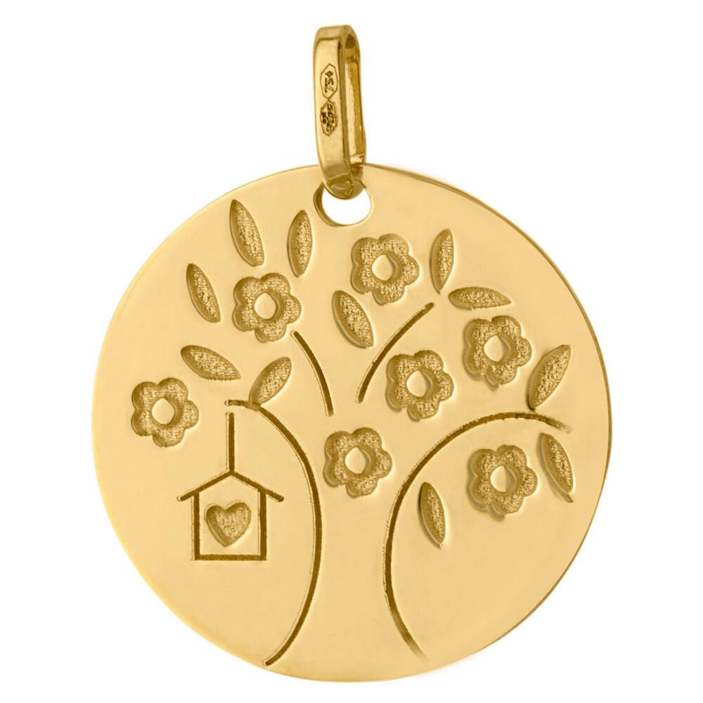 Photo de Médaille Arbre de vie fleuri au coeur - Or jaune 18ct