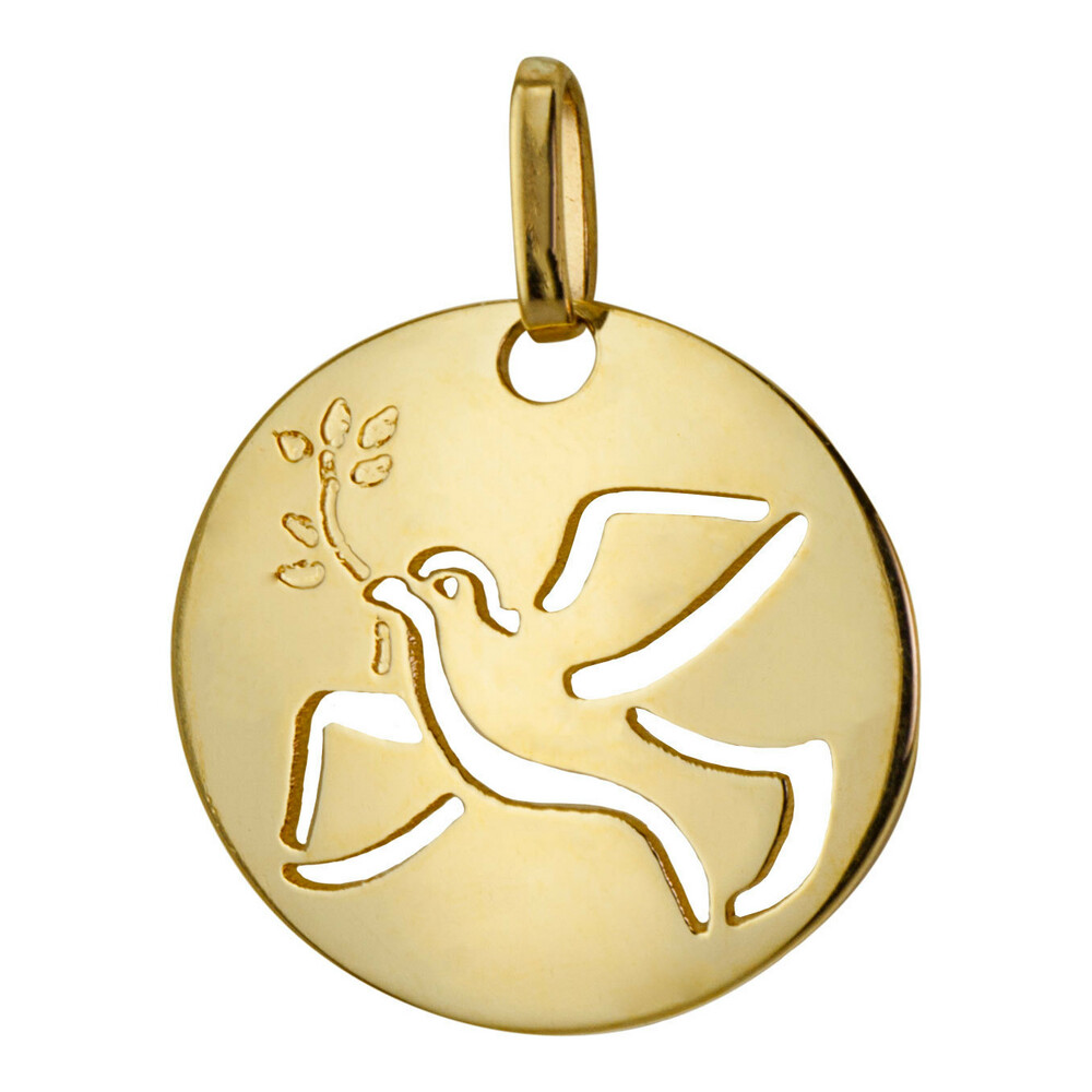 Photo de Médaille bombée Colombe ajourée - Or jaune 9ct