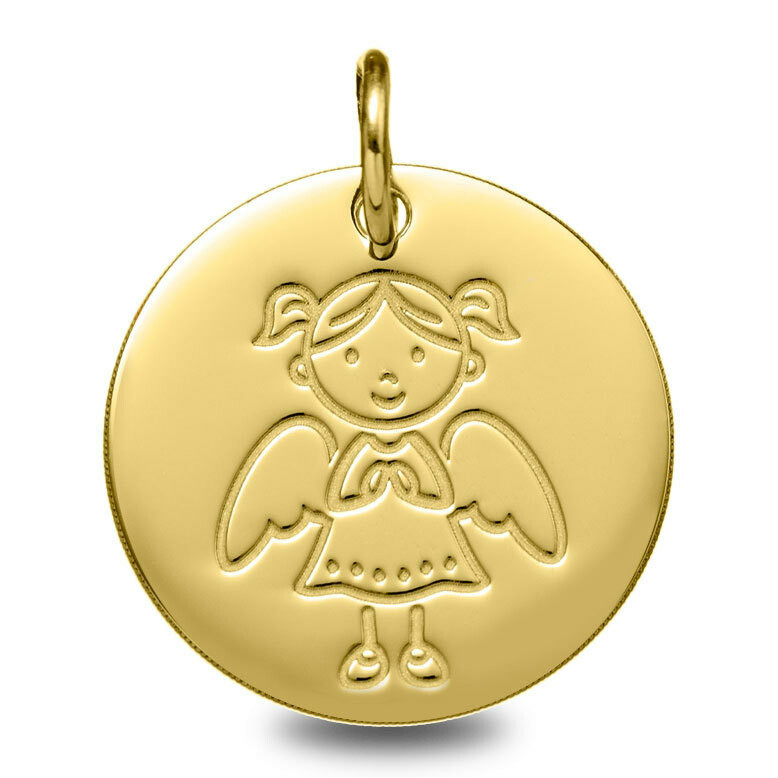 Photo de Médaille Ange fille - Or jaune 9ct
