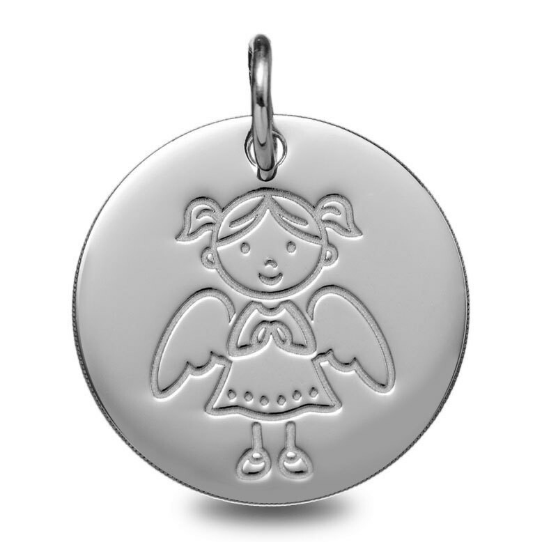 Photo de Médaille Ange fille - Or blanc 9ct