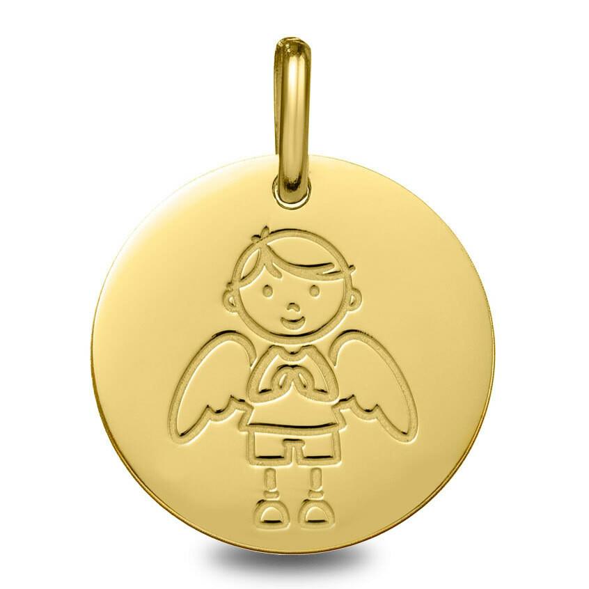 Photo de Médaille Ange garçon - Or jaune 9ct