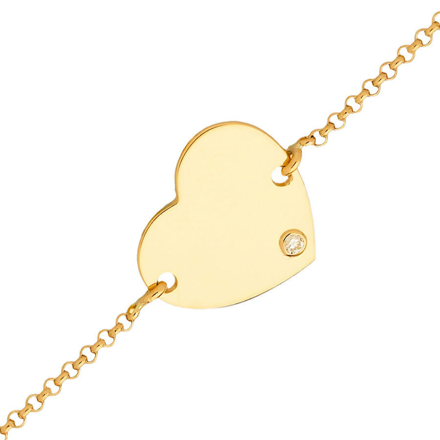 Photo de Gourmette enfant coeur - diamant & or jaune 18ct