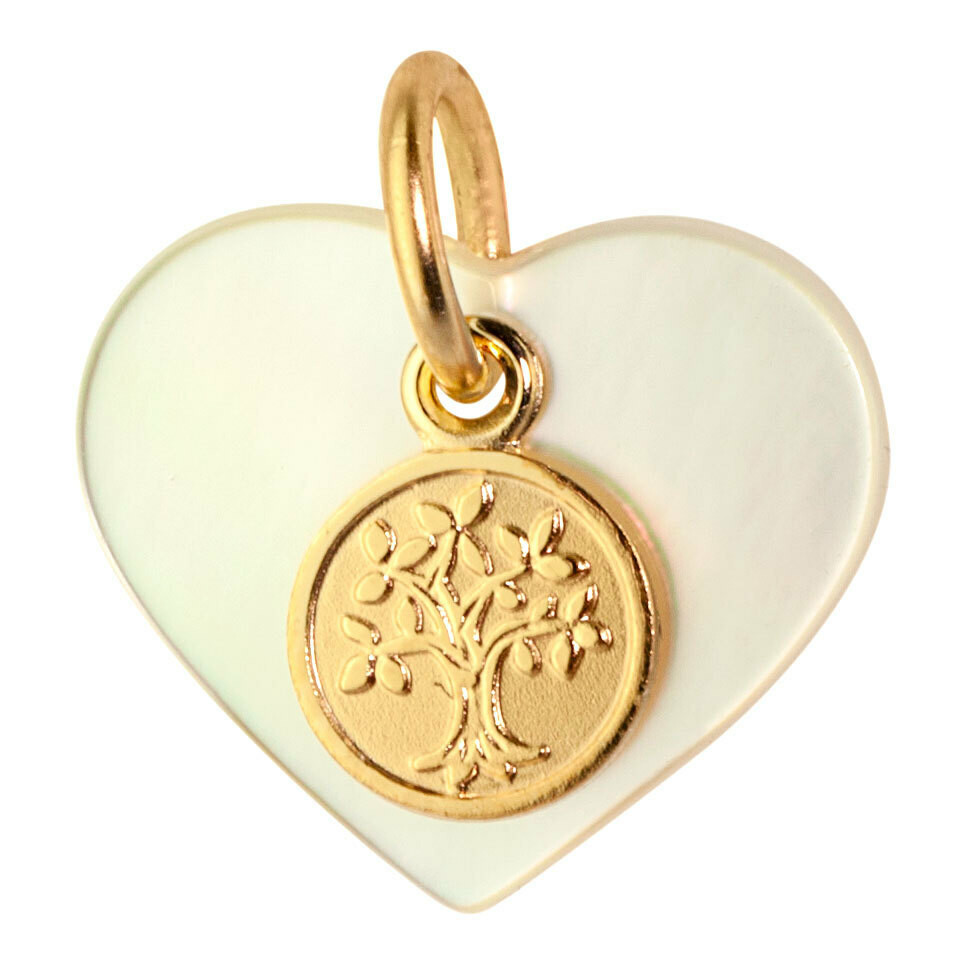 Photo de Médaille coeur arbre de vie - Or jaune 9ct & nacre