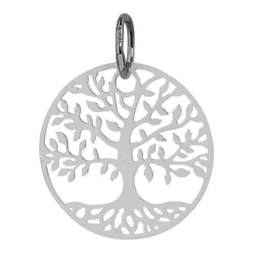 Photo de Médaille Arbre de vie luxuriant - Or blanc 9ct