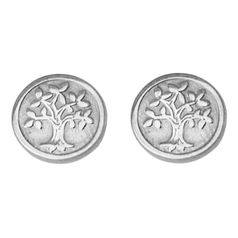 Photo de Boucles d'oreilles arbres de vies - Puces - Or blanc 9ct