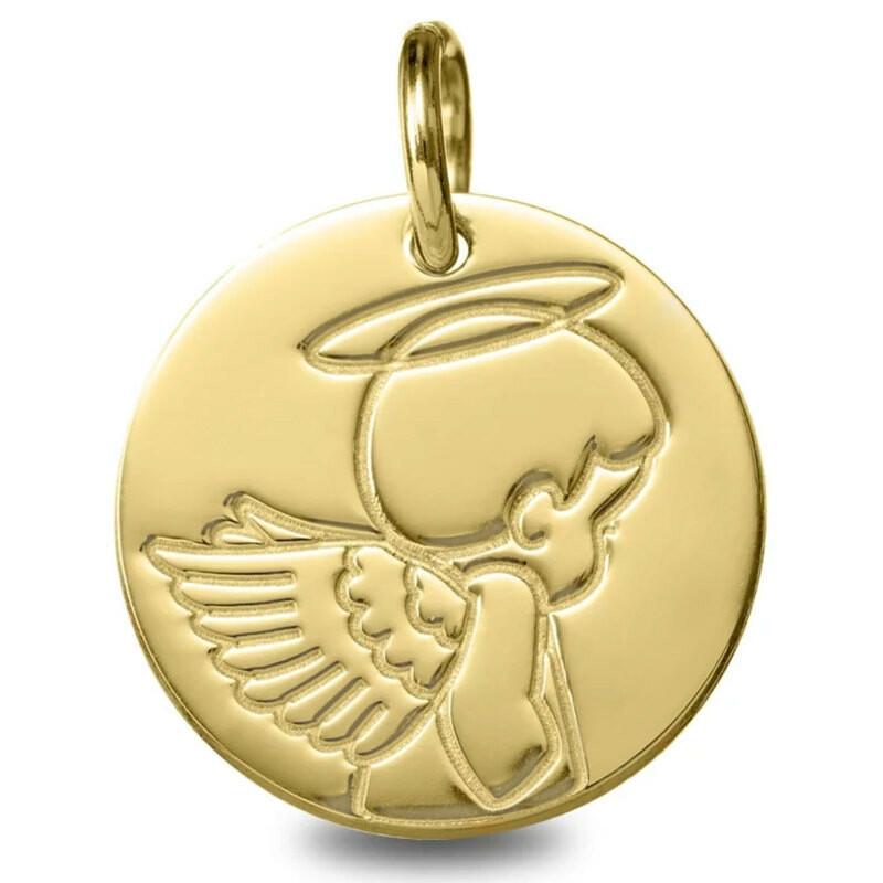 Photo de Médaille Ange auréolé - Or jaune 18ct