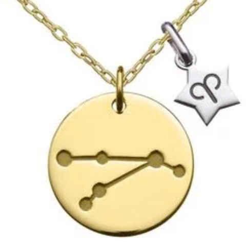 Photo de Collier chaîne & médaille constellation - Or jaune 18ct