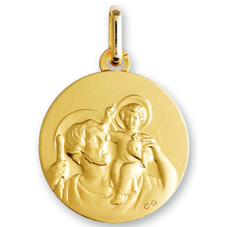 Photo de Médaille Saint- Christophe ronde - Or jaune 18ct