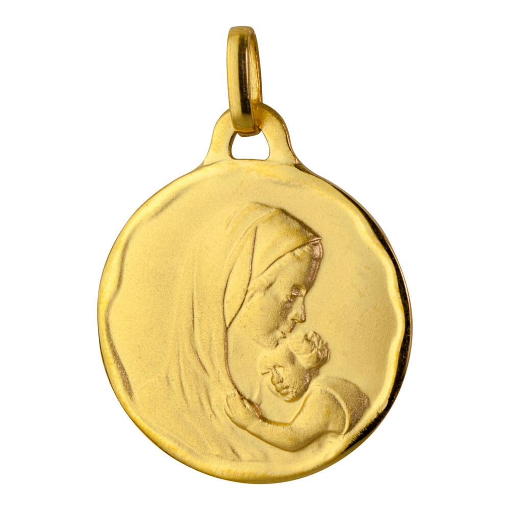 Photo de Médaille Vierge à l'enfant satinée - Or jaune 9ct