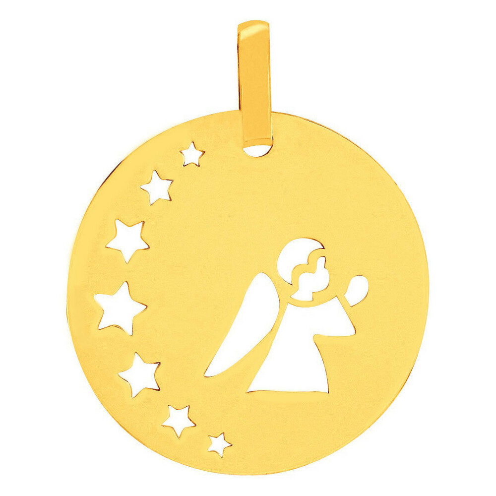 Photo de Médaille petit ange aux étoiles - Or jaune 9ct