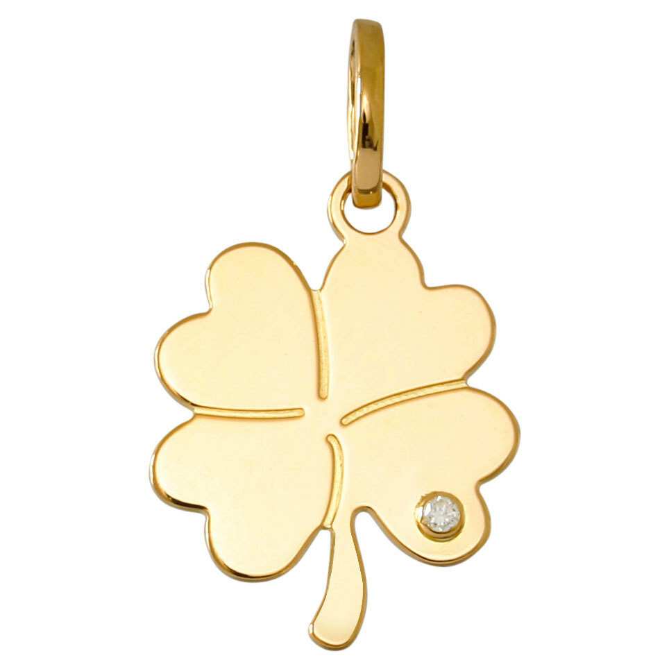 Photo de Médaille trèfle 4 feuilles - diamant & or jaune 18ct