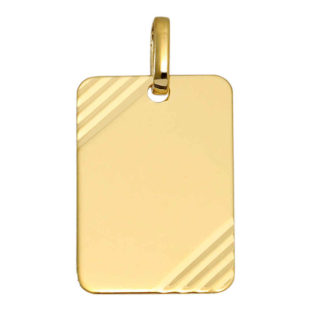 Photo de Pendentif plaque rectangle striée - Or jaune 18ct