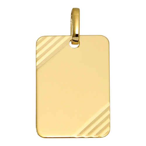 Photo de Pendentif plaque rectangle striée - Or jaune 18ct