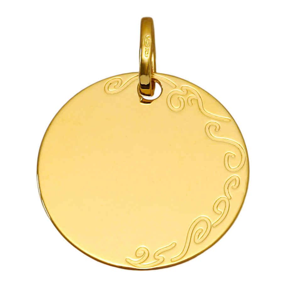 Photo de Médaille ronde avec arabesque - Or jaune 18ct