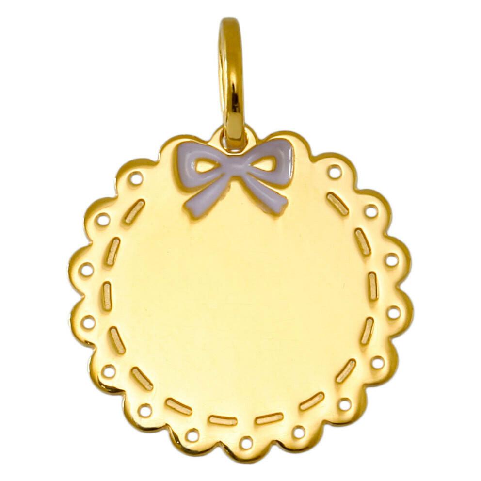 Photo de Médaille dentelle et noeud - Or jaune 9ct