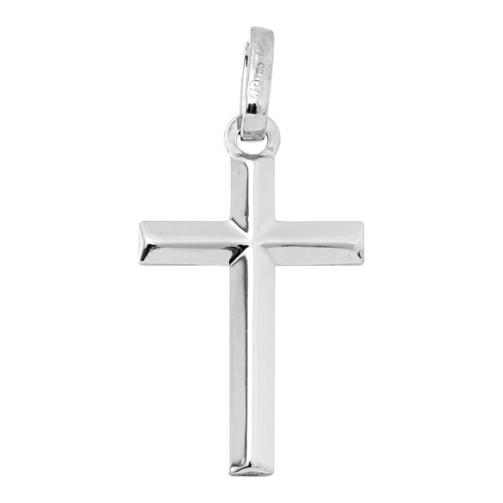 Photo de Croix fil biseauté - Or blanc 18ct