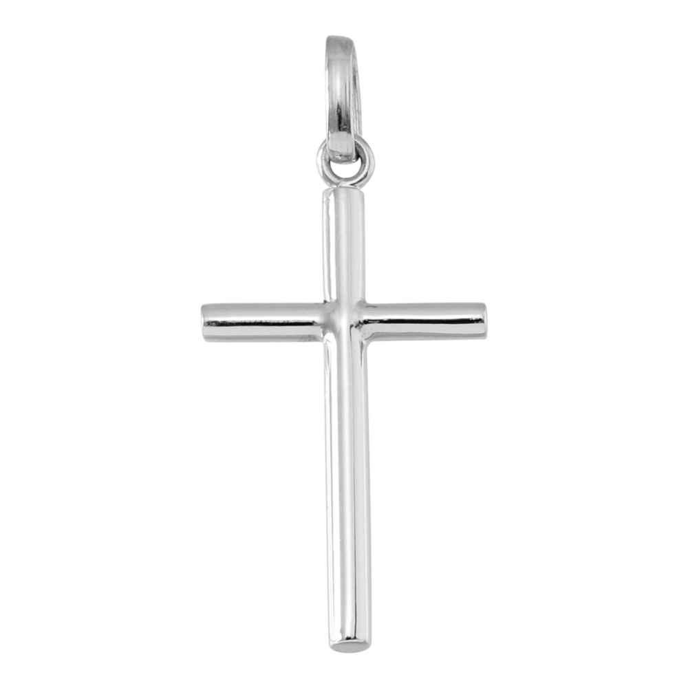 Photo de Croix fil rond - Or blanc 18ct