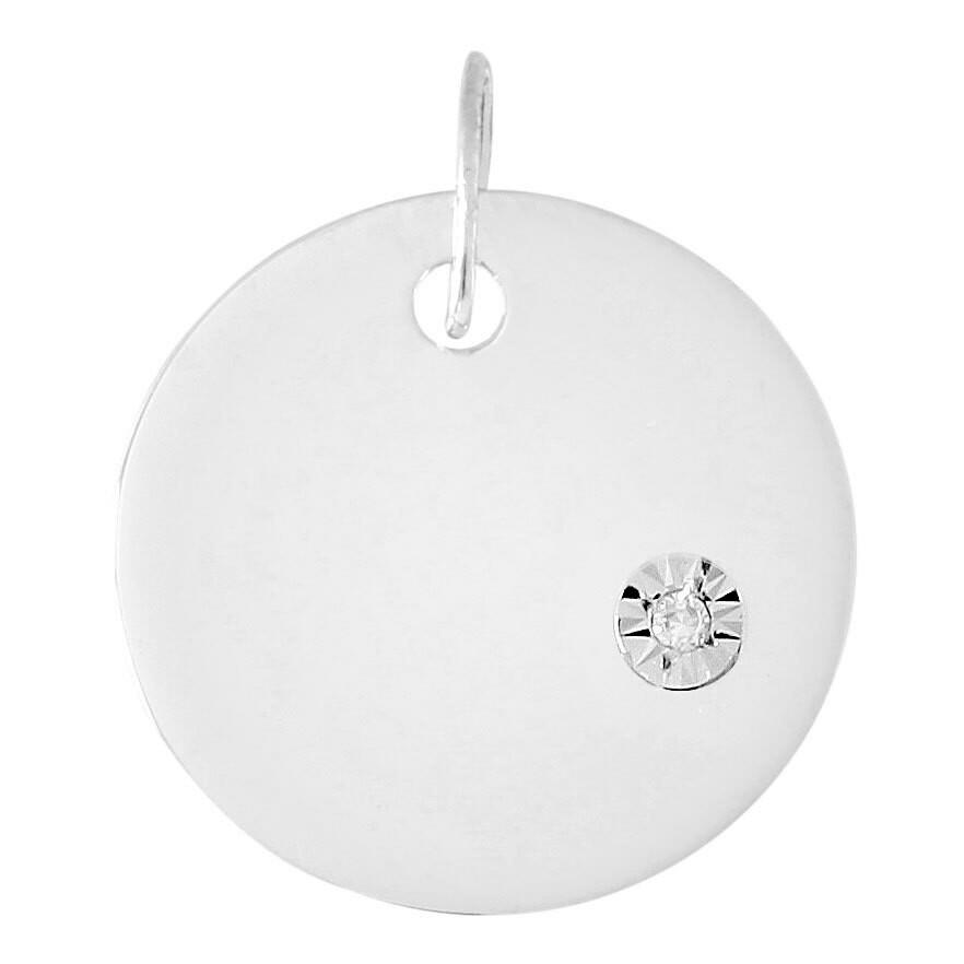 Photo de Pendentif plaque ronde - diamant & or blanc 9ct