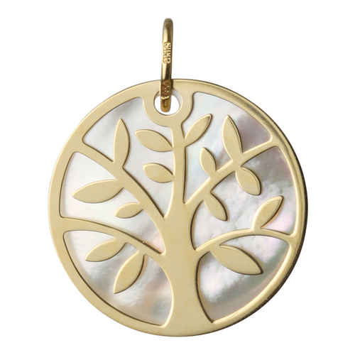 Photo de Médaille Arbre de vie - Or jaune 18ct & nacre