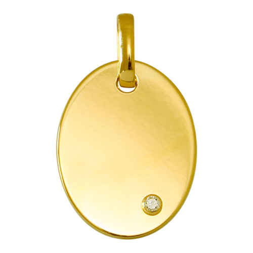 Photo de Médaille ovale - diamant & or jaune 18ct