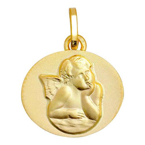Photo de Médaille Ange ovale - Or jaune 9ct