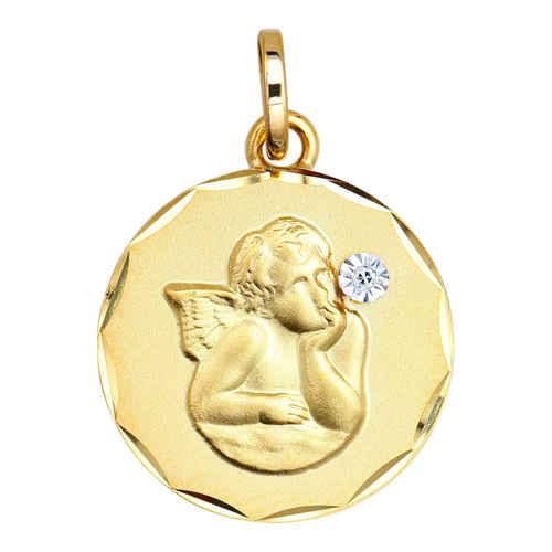 Photo de Médaille Ange pensif - diamant & or jaune 9ct