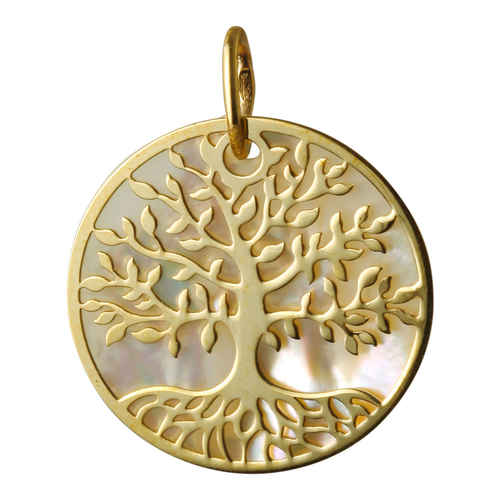 Photo de Médaille Arbre de vie - Or jaune 9ct & nacre