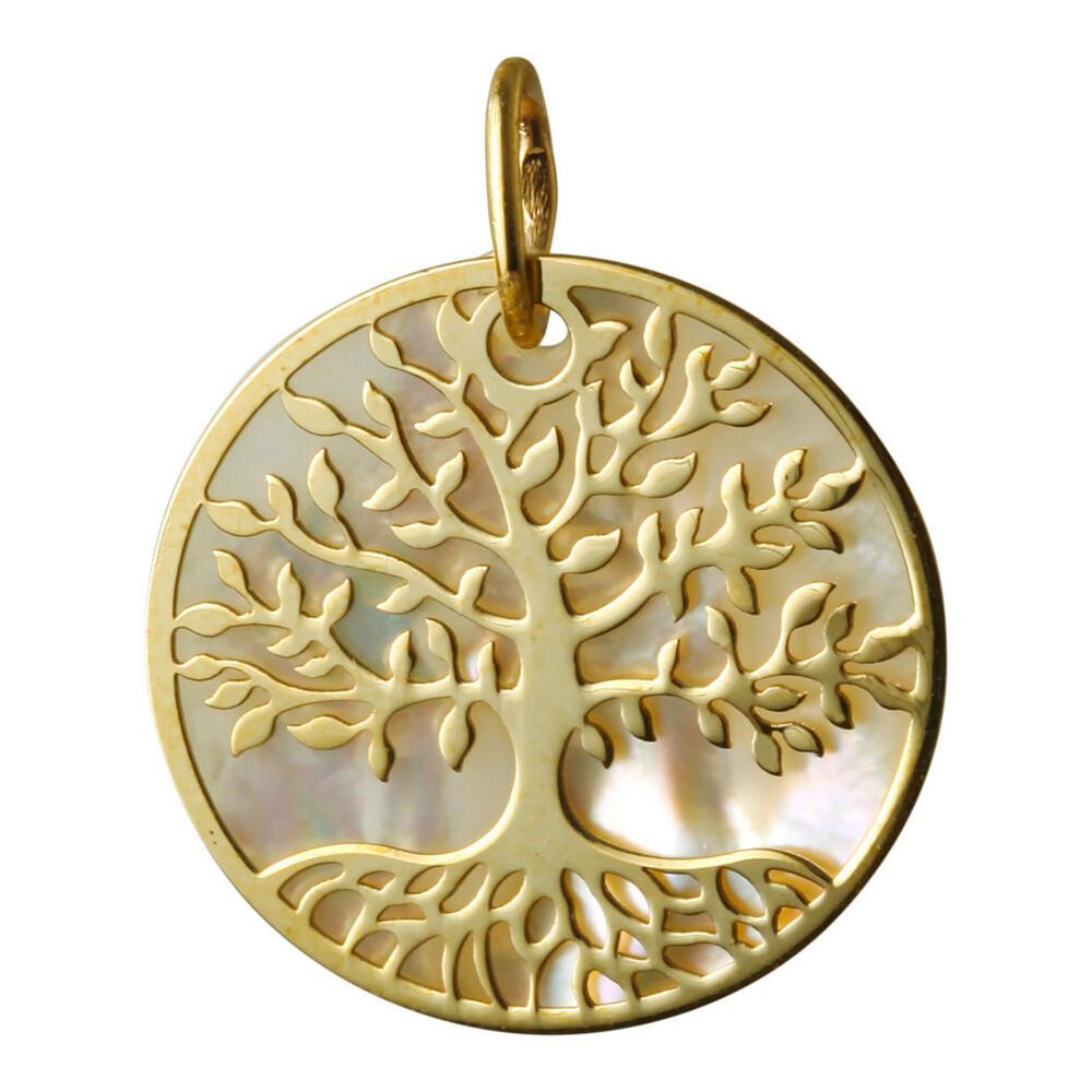 Photo de Médaille Arbre de vie - Or jaune 18ct & nacre