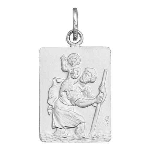 Photo de Médaille Saint Christophe rectangle - Argent massif