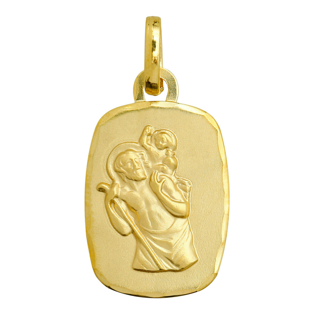 Photo de Médaille Saint- Christophe rectangle diamantée - Or jaune 9ct