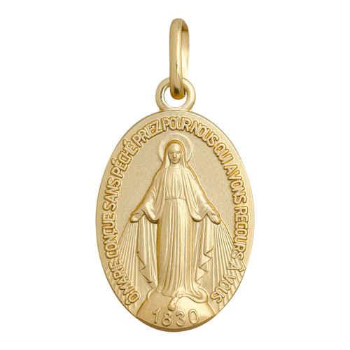 Photo de Médaille Vierge Miraculeuse à graver - Or jaune 18ct