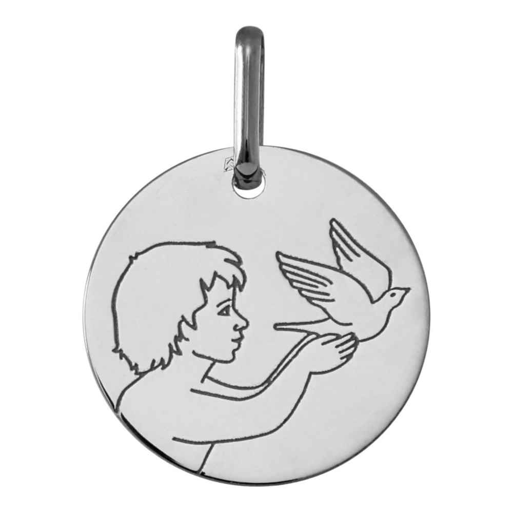Photo de Médaille Ange à la colombe - Or blanc 18ct