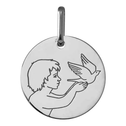 Photo de Médaille Ange à la colombe - Or blanc 9ct
