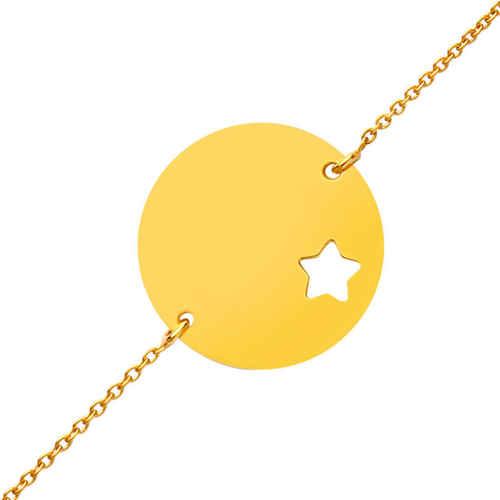 Photo de Gourmette bébé étoile ajourée - Or jaune 9ct