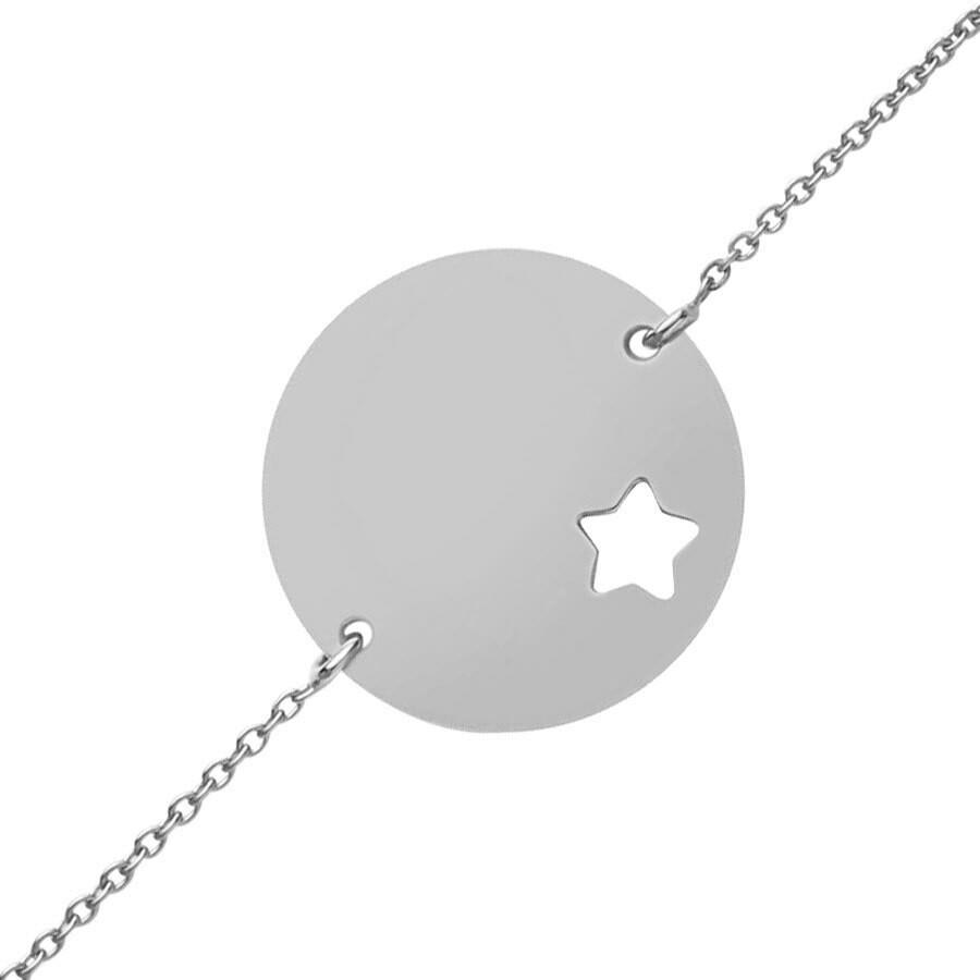 Photo de Gourmette bébé étoile ajourée - Or blanc 9ct