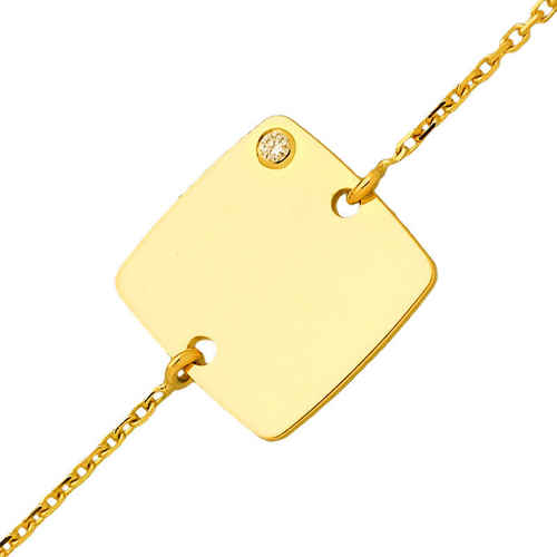 Photo de Gourmette enfant carré - diamant & or jaune 18ct