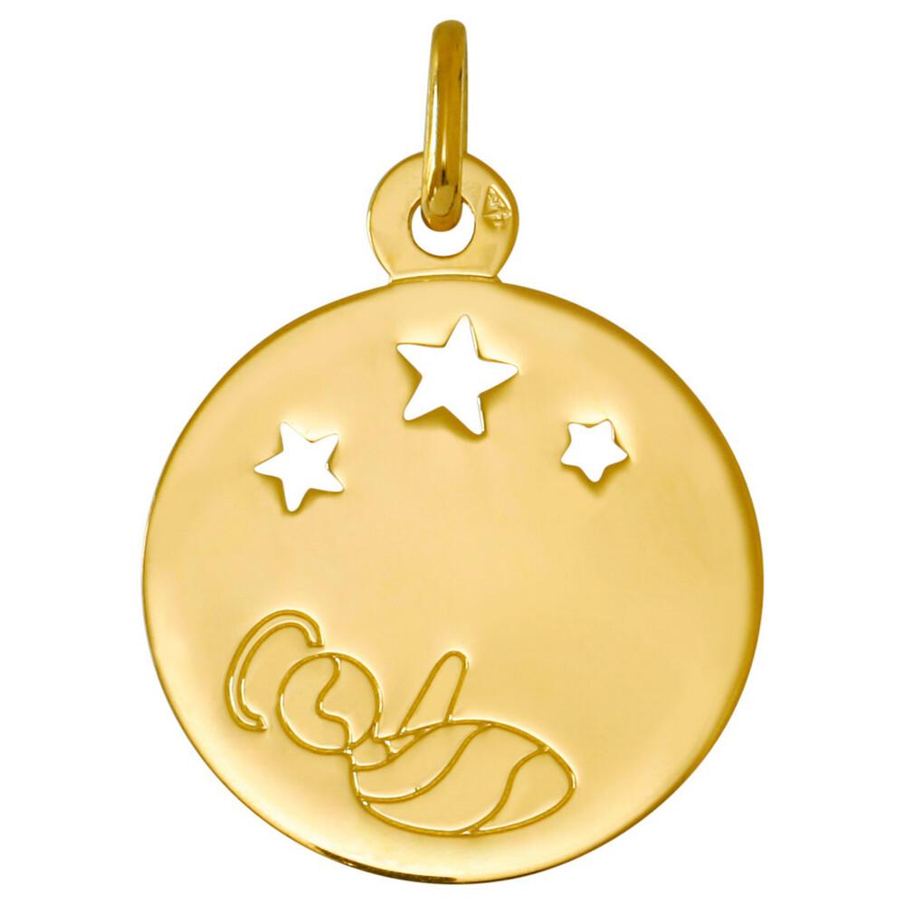 Photo de Médaille ange naissant aux étoiles - Or jaune 18ct