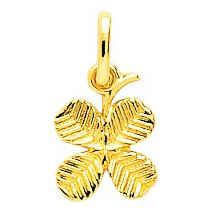 Photo de Médaille trèfle 4 feuilles - Or jaune 18ct